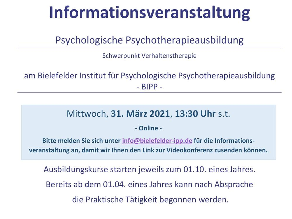 Join the BIPP information event about psychotherapy training in Germany!
